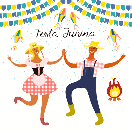 Festa Junina poster with dancing couple, lanterns, bunting, bonfire, Portuguese text. Isolated objects on white. Hand drawn vector illustration. Flat style design. Concept for holiday banner, flyer.