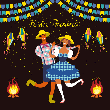 Festa Junina poster with dancing couple, lanterns, bunting, bonfire, Portuguese text. Isolated objects. Hand drawn vector illustration. Flat style design. Concept for holiday banner, flyer.