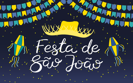 Festa Junina poster with straw hat, lanterns, bunting, Portuguese text Festa de Sao Joao, on dark background. Hand drawn vector illustration. Flat style design. Concept for holiday banner, flyer. Illustration