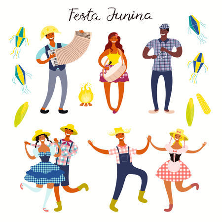 Festa Junina set with dancing people, musicians, lanterns, bonfire, corn, Portuguese text. Isolated objects on white. Hand drawn vector illustration. Flat style design. Element banner, flyer, poster
