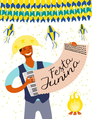 Festa Junina poster with a musician playing accordion, lanterns, bunting, Portuguese text. Hand drawn vector illustration. Flat style design. Concept for traditional Brazilian holiday banner, flyer.