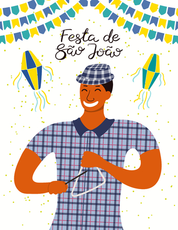 Festa Junina poster with a musician playing triangle, lanterns, bunting, Portuguese text Festa de Sao Joao. Hand drawn vector illustration. Flat style design. Concept Brazilian holiday banner, flyer.