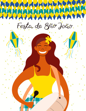 Festa Junina poster with a musician playing drum, lanterns, bunting, Portuguese text Festa de Sao Joao. Hand drawn vector illustration. Flat style design. Concept for Brazilian holiday banner, flyer.