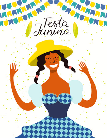 Festa Junina poster with a dancing girl in a straw hat, bunting, corn, Portuguese text. Hand drawn vector illustration. Flat style design. Concept for traditional Brazilian holiday banner, flyer.