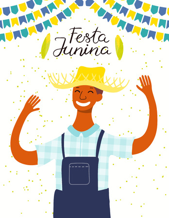 Festa Junina poster with a dancing man in a straw hat, bunting, corn, Portuguese text. Hand drawn vector illustration. Flat style design. Concept for traditional Brazilian holiday banner, flyer.