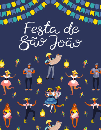 Festa Junina poster with dancing people, musicians, lanterns, bunting, bonfire, Portuguese text Festa de Sao Joao. Hand drawn vector illustration. Flat style design. Concept for holiday banner, flyer.