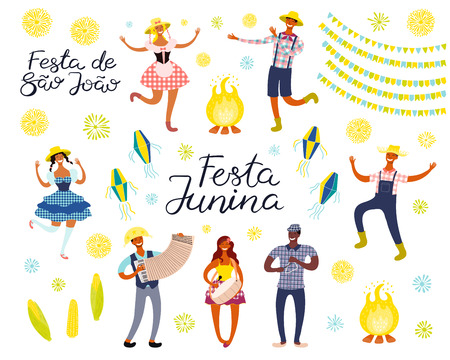 Festa Junina set with dancing people, musicians, lanterns, bunting, Portuguese text. Isolated objects on white. Hand drawn vector illustration. Flat style design. Element for holiday banner, poster.
