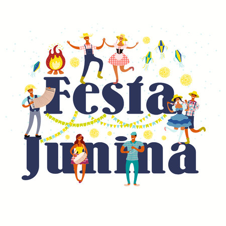 Festa Junina poster with dancing people, musicians, lanterns, bunting, fireworks, bonfire, Portuguese text. Hand drawn vector illustration. Flat style design. Concept for holiday banner, flyer