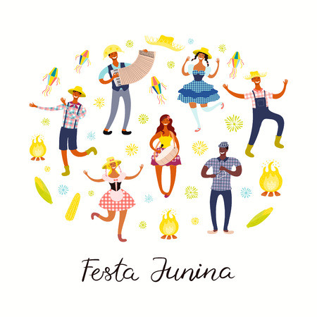 Festa Junina poster with dancing people, musicians, lanterns, bonfire, Portuguese text. Isolated objects on white. Hand drawn vector illustration. Flat style design. Concept for holiday banner, flyer. Иллюстрация