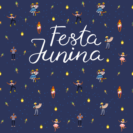 Festa Junina poster with dancing people, musicians, lanterns, bonfire, Portuguese text. Hand drawn vector illustration. Flat style design. Concept for traditional Brazilian holiday banner, flyer.
