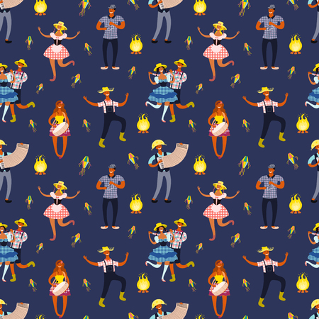 Festa Junina seamless pattern with dancing people, musicians, bonfire, lanterns, on blue background. Hand drawn vector illustration. Flat style design. Concept for holiday banner, poster, paper print.