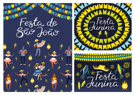Set of Festa Junina designs with dancing people, musicians, straw hat, lanterns, bunting, bonfire, Portuguese text. Hand drawn vector illustration. Flat style. Concept holiday banner, poster, flyer