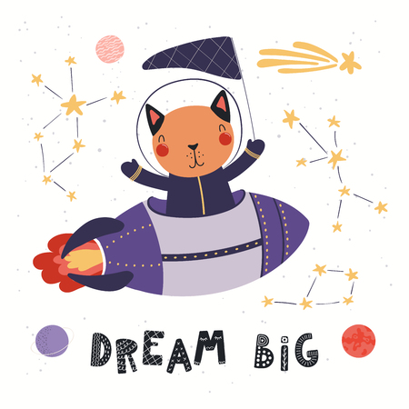 Hand drawn vector illustration of a cute cat astronaut flying rocket in space, with quote Dream big. Isolated objects on white background. Scandinavian style flat design. Concept for children print. Stok Fotoğraf - 124700107