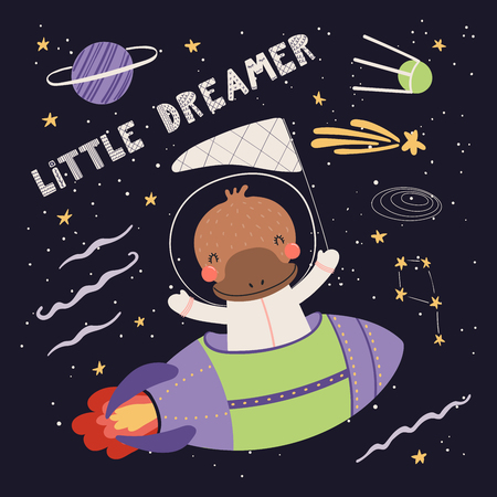 Hand drawn vector illustration of a cute platypus astronaut flying rocket in space, with quote Little dreamer. Isolated objects on dark. Scandinavian style flat design. Concept for children print. Foto de archivo - 124700116