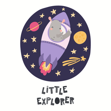 Hand drawn vector illustration of a cute rhino astronaut flying rocket in space, with quote Little explorer. Isolated objects on white. Scandinavian style flat design. Concept for children print.