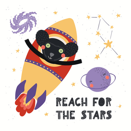 Hand drawn vector illustration of a cute indri astronaut flying rocket in space, with quote Reach for the stars. Isolated objects on white. Scandinavian style flat design. Concept for children print. Ilustração