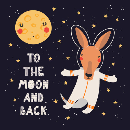 Hand drawn vector illustration of a cute kangaroo astronaut in space, with lettering quote To the moon and back. Isolated objects on dark. Scandinavian style flat design. Concept for children print. Illustration