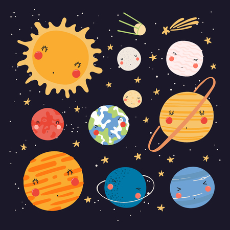 Hand drawn vector illustration of kawaii solar system planets and sun. Isolated objects on dark background. Scandinavian style flat design. Concept for children print. 向量圖像