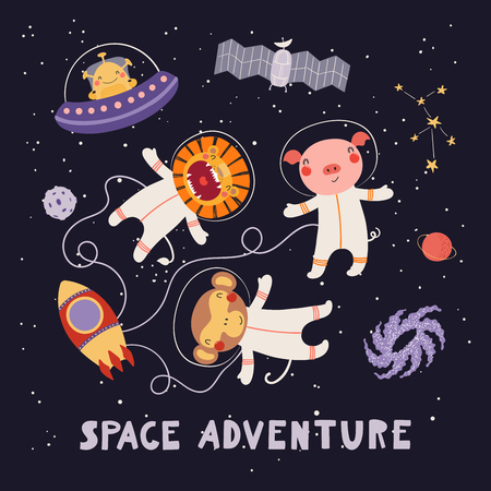 Hand drawn vector illustration of cute animal astronauts, alien in space, with lettering quote Space adventure. Isolated objects on dark. Scandinavian style flat design. Concept for children print. Stock Illustratie
