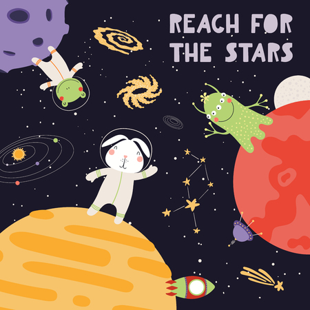 Hand drawn vector illustration of cute animal astronauts, alien in space, with lettering quote Reach for the stars. Isolated objects on dark. Scandinavian style flat design. Concept for children print Illustration