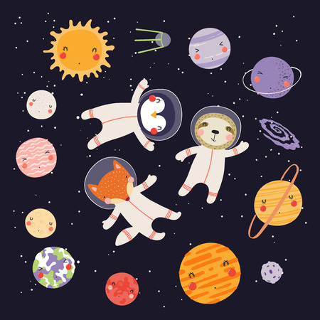 Hand drawn vector illustration of cute animal astronauts in space, among the plaents of solar system. Isolated objects on dark background. Scandinavian style flat design. Concept for children print. Ilustração