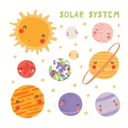 Handgezeichnete Vektor-Illustration von Kawaii Sonnensystem Planeten und Sonne. Isolierte Objekte auf weißem Hintergrund. Flaches Design im skandinavischen Stil. Konzept für Kinderdruck. Vektorgrafik