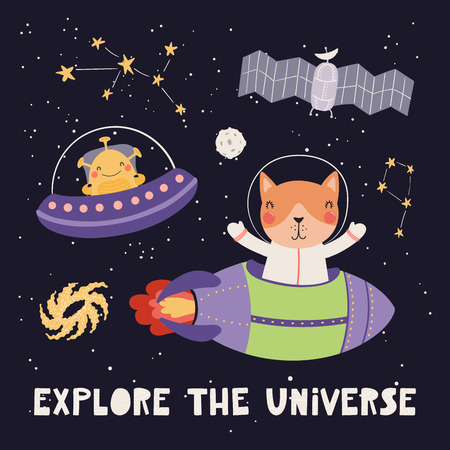 Hand drawn vector illustration of a cute cat astronaut, alien, in space, with lettering quote Explore the universe, on dark background. Scandinavian style flat design. Concept for children print.