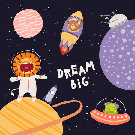 Ilustración de vector dibujado a mano de lindo león, osos astronautas, extraterrestre, en el espacio, con cita de letras Sueña en grande, sobre fondo oscuro. Diseño plano de estilo escandinavo. Concepto para niños imprimir.
