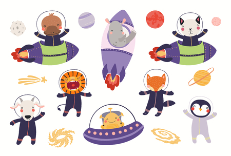 Big set of cute animal astronauts in space, with planets, stars. Isolated objects on white background. Hand drawn vector illustration. Scandinavian style flat design. Concept for children print.