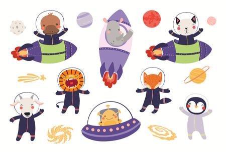 Gran conjunto de astronautas animales lindos en el espacio, con planetas, estrellas. Objetos aislados sobre fondo blanco. Ilustración de vector dibujado a mano. Diseño plano de estilo escandinavo. Concepto para niños imprimir. Ilustración de vector