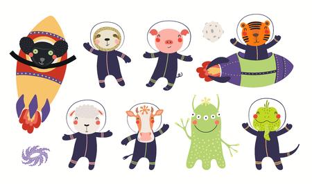 Große Reihe süßer Tierastronauten im Weltraum, mit Planeten, Sternen. Isolierte Objekte auf weißem Hintergrund. Handgezeichnete Vektor-Illustration. Flaches Design im skandinavischen Stil. Konzept für Kinderdruck.