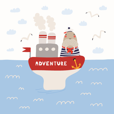 Hand drawn vector illustration of a cute walrus sailor on a ship, in the open sea, with seagulls, clouds. Scandinavian style flat design. Concept for children print. Illustration