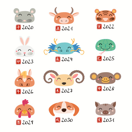 Set of Chinese zodiac signs animal faces with zodiac animal names characters. Isolated objects on white background. Hand drawn vector illustration. Design concept holiday banner, decorative element.