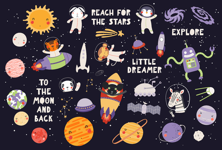 Big set of cute animal astronauts in space, with planets, stars, spaceships, quotes, on dark background. Hand drawn vector illustration. Scandinavian style flat design. Concept for children print.