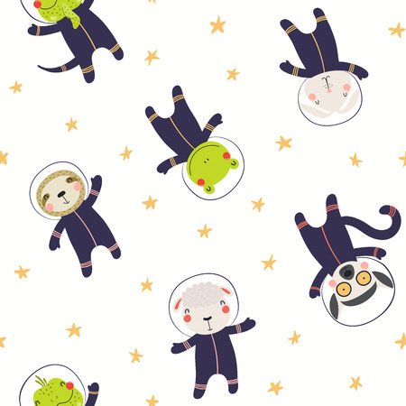 Hand drawn seamless vector pattern with cute animal astronauts, stars, in space, on a white background. Scandinavian style flat design. Concept for children textile print, wallpaper, wrapping paper. Ilustração