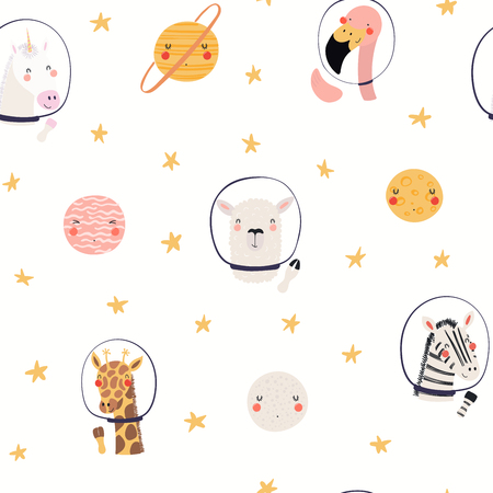 Hand drawn seamless vector pattern with cute animal astronauts, stars, in space, on a white background. Scandinavian style flat design. Concept for children, textile print, wallpaper, wrapping paper. Ilustração