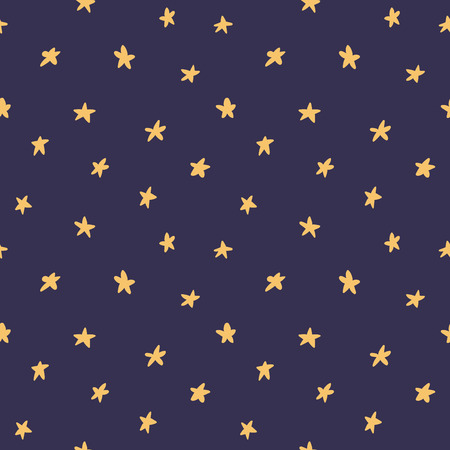 Hand drawn seamless vector pattern with yellow stars, on a dark blue background. Scandinavian style flat design. Concept for children textile print, wallpaper, wrapping paper. Ilustrace