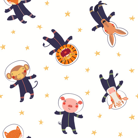 Hand drawn seamless vector pattern with cute animal astronauts, stars, in space, on a white background. Scandinavian style flat design. Concept for children textile print, wallpaper, wrapping paper. Illustration