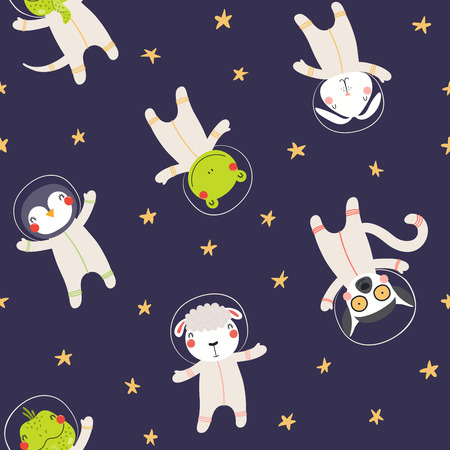 Hand drawn seamless vector pattern with cute animal astronauts, stars, in space, on a dark background. Scandinavian style flat design. Concept for children textile print, wallpaper, wrapping paper.