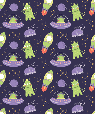 Hand drawn seamless vector pattern with cute aliens, spaceships, constellations, on a dark background. Scandinavian style flat design. Concept for children, textile print, wallpaper, wrapping paper. Иллюстрация