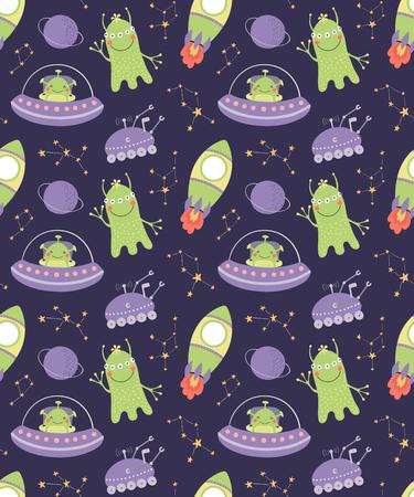 Modello vettoriale senza cuciture disegnato a mano con simpatici alieni, astronavi, costellazioni, su uno sfondo scuro. Design piatto in stile scandinavo. Concetto per bambini, stampa tessile, carta da parati, carta da imballaggio.