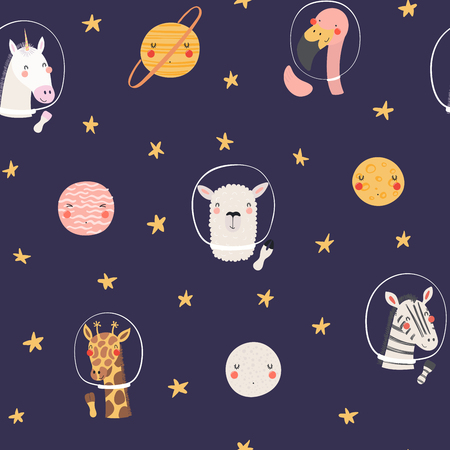 Hand drawn seamless vector pattern with cute animal astronauts, stars, in space, on a dark background. Scandinavian style flat design. Concept for children, textile print, wallpaper, wrapping paper.