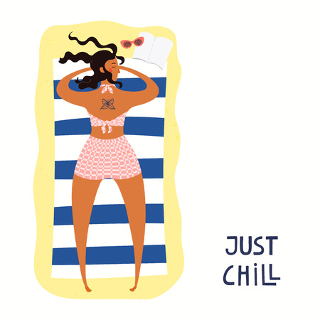 Hand drawn vector illustration of a happy woman on the beach sunbathing, with quote Just chill. Isolated objects on white background. Flat style design. Concept, element for summer poster, banner. Ilustração