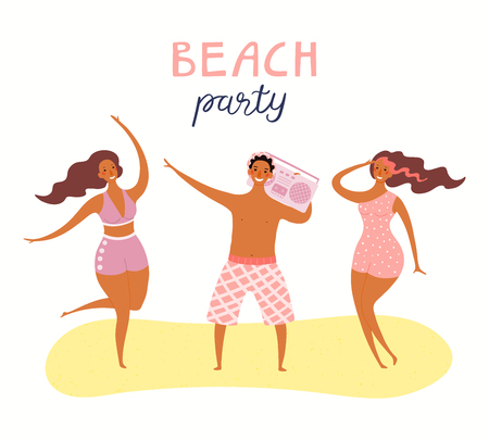 Hand drawn vector illustration of young people on the beach dancing, with lettering quote Beach Party. Isolated objects on white background. Flat style design. Concept, element summer poster, banner.