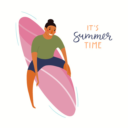 Hand drawn vector illustration of happy man swimming on a surfboard, with lettering quote Its summer time. Isolated objects on white background. Flat style design. Concept, element for poster, banner.