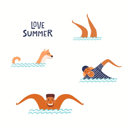 Hand drawn vector illustration of happy people, dog swimming in the sea, with lettering quote Love summer. Isolated objects on white background. Flat style design. Concept, element for poster, banner. Ilustração