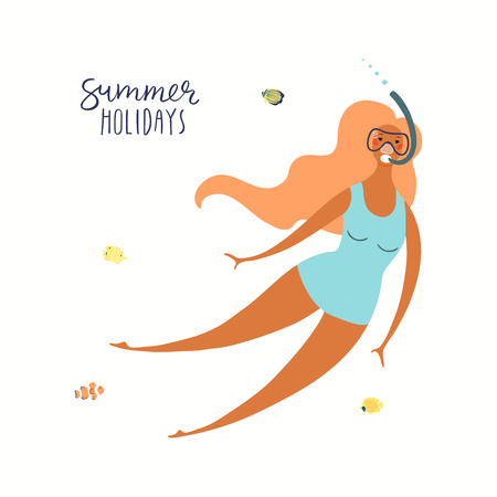 Hand drawn vector illustration of a happy woman swimming underwater, with lettering quote Summer holidays. Isolated objects on white background. Flat style design. Concept, element for poster, banner. Ilustração