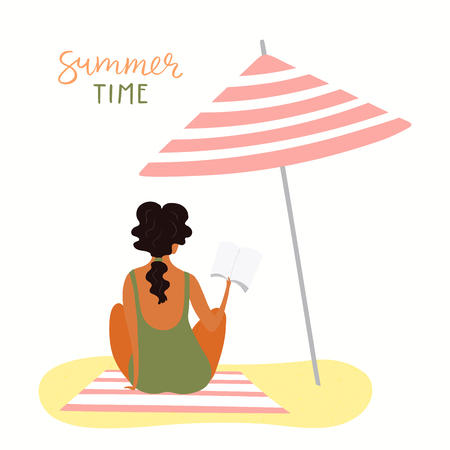 Hand drawn vector illustration of a happy woman on the beach reading, with lettering quote Summer time. Isolated objects on white background. Flat style design. Concept, element for poster, banner.