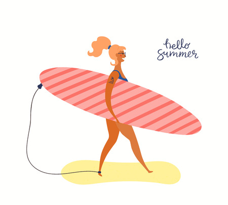 Hand drawn vector illustration of a woman carrying a surfboard, with lettering quote Hello Summer. Isolated objects on white background. Flat style design. Concept, element for poster, banner.