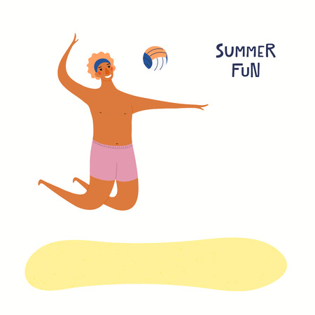 Hand drawn vector illustration of a happy man playing beach volleyball, with lettering quote Summer fun. Isolated objects on white background. Flat style design. Concept, element for poster, banner.